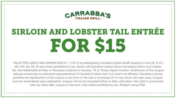 picture regarding Carrabba's Coupons Printable known as Pin through Barbara Sewell upon Lobster Tails Italian grill