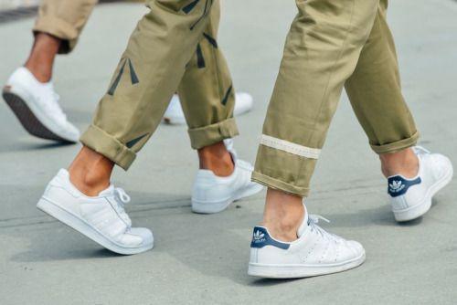 white stan smith + khaki chino pants