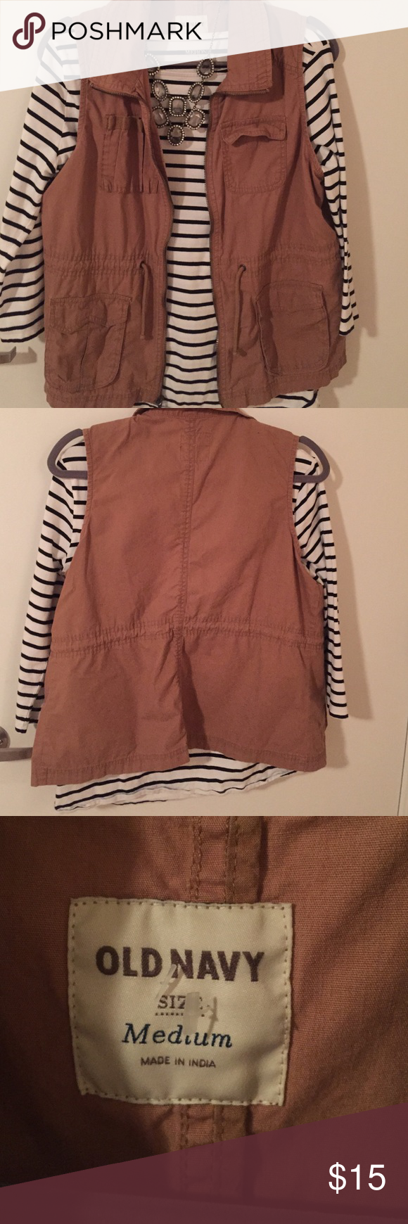 "Cargo vest Perfect layering piece! Khaki ""cargo"" vest. Great condition, no flaws. Size medium. Old navy. 100% cotton Old Navy Jackets & Coats Vests"