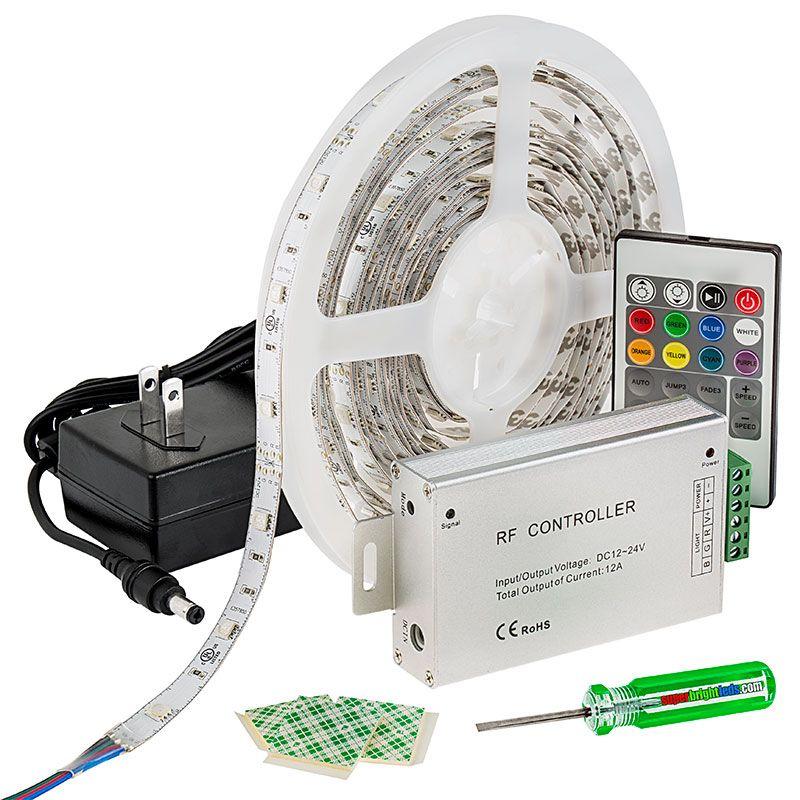 Led Light Strip Full Kit With Multi Color Leds Led Tape Light With 9 Smds Ft 3 Chip Rgb Smd Led 5050 Led Tape Lighting Led Strip Lighting Strip Lighting