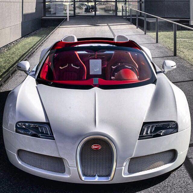 Bugatti Cars Bugatti Bugatti Veyron: All White #Bugatti #Veyron And All Red Interior.