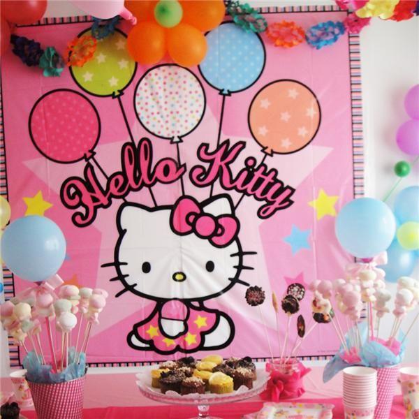 Decorado de pared de hello kitty para fiestas de - Decoracion hello kitty ...