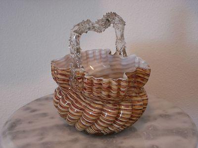 Victorian Antique Art Glass Webb or Stevens and Williams Basket