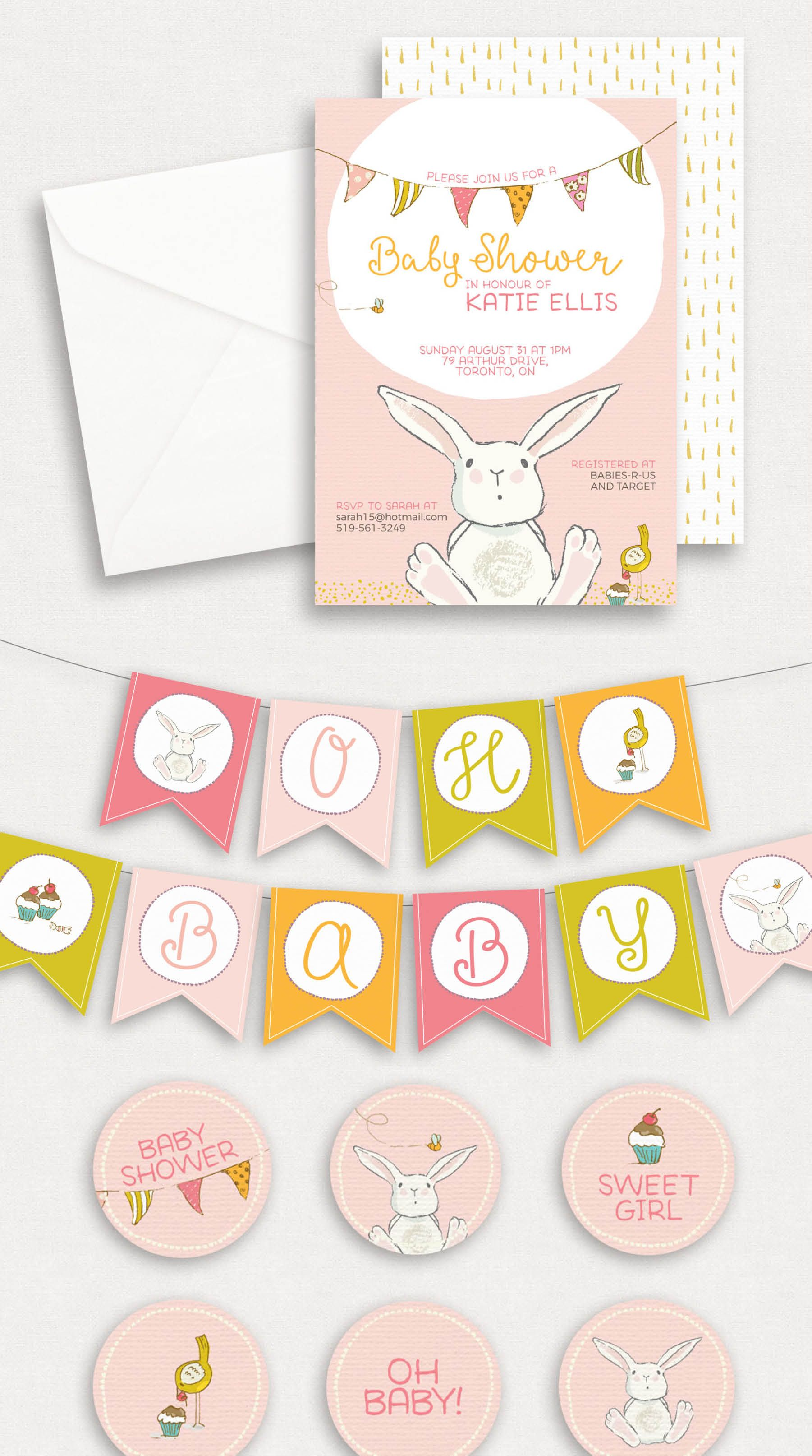 Bunny Baby Shower Invitation, banner and cupcake toppers | easter ...