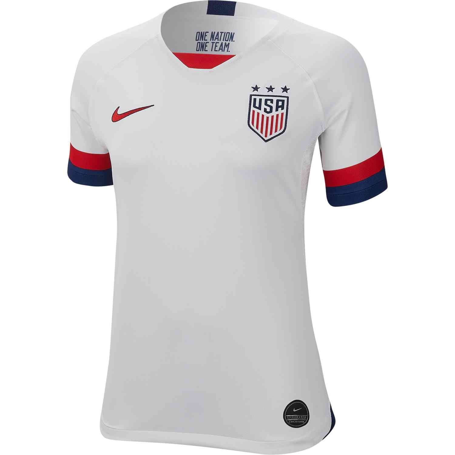 3cfdcfee26b Buy the 2019 Nike USWNT Home Jersey today from SoccerPro. Get it with fast  shipping and easy returns always. Original jerseys always guaranteed.