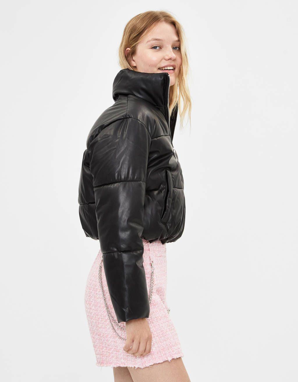 Faux Leather Puffer Jacket Jackets Bershka United States Puffer Jackets Jackets Puffy Jacket