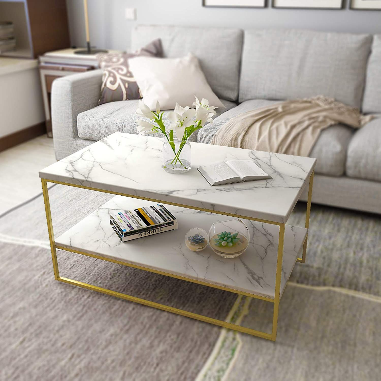 White Marble Print Coffee Table With Gold Metal Legs Living Room Tables Marble Tables Living Room Living Room Table Coffee Table [ 1500 x 1500 Pixel ]