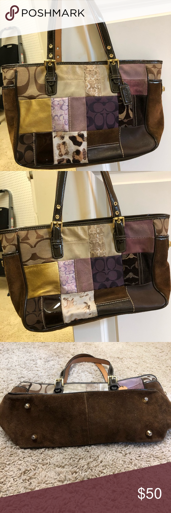 Vintage Coach Patchwork Tote I coveted this purse when it came out Brown su