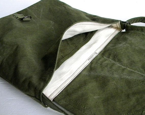 *Recycled Military Canvas Satchel Messenger Bag by belrossa on Etsy, $50.00 - I love this!