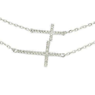 Sterling Silver MOM Heart Diamond Pendant Necklace Springlock 16In
