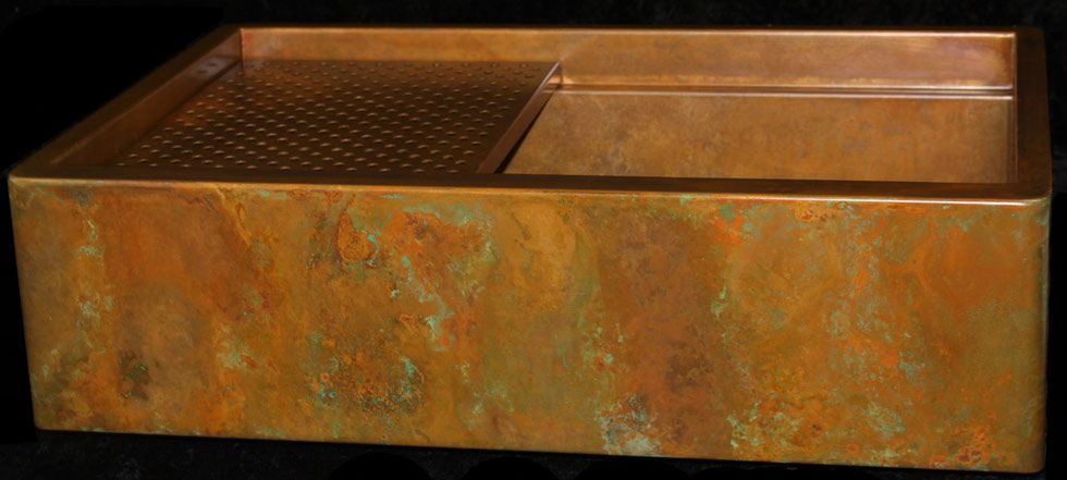Rustic Signature Series Copper apron front sink by Rachiele. Features an interior ledge for a copper grid and cutting board.  http://www.rachiele.com