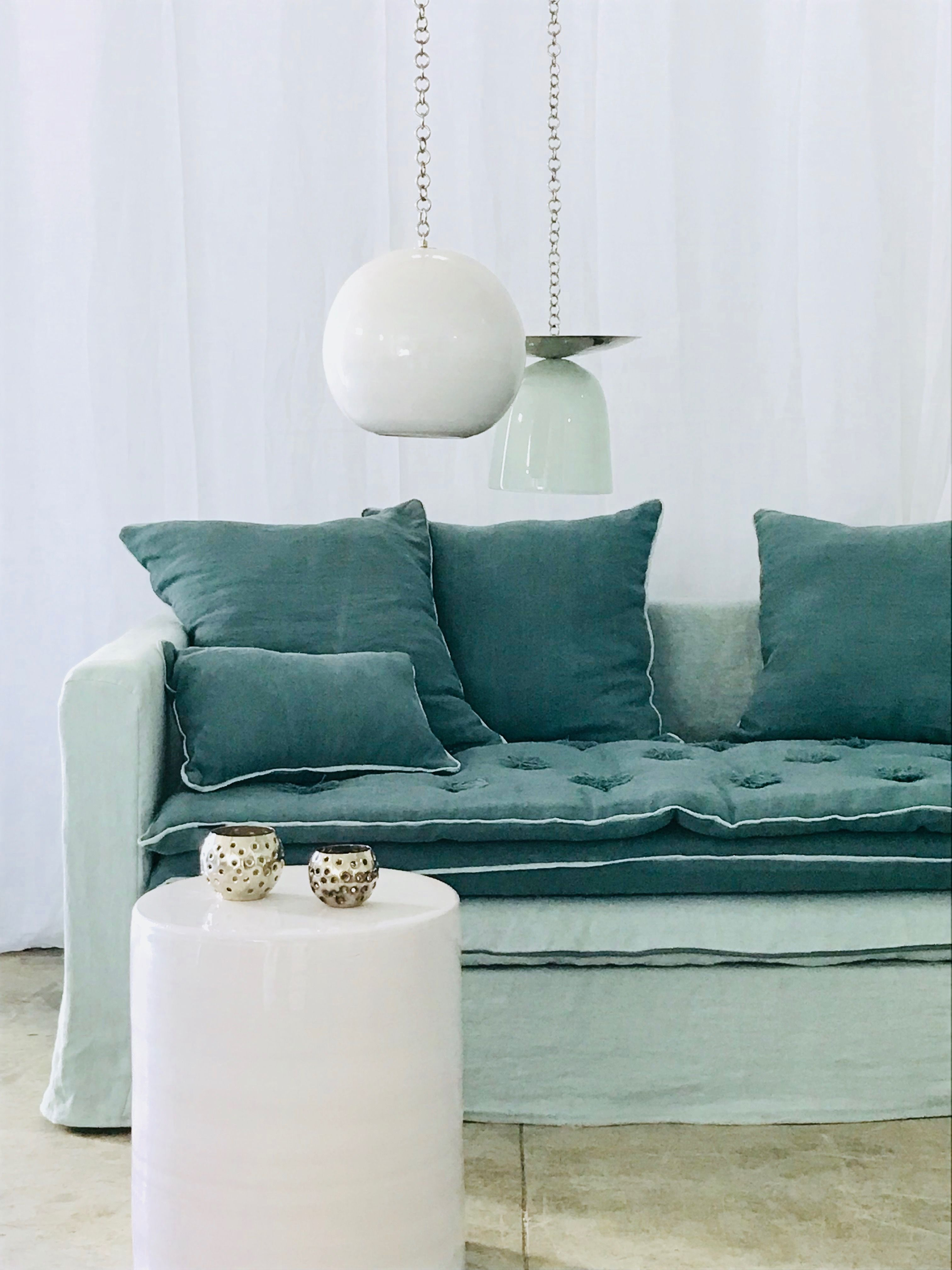 Canape Boheme Lin Lave Vert Celadon Et Vert Bouteille Canape Vert Canape Mobilier De Salon