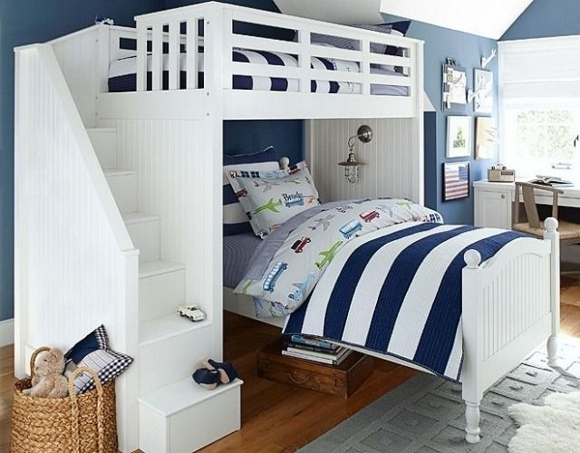 Kinderzimmermöbel holz  Etagenbett aus Holz mit Stufen-Klassische Kinderzimmermöbel ...