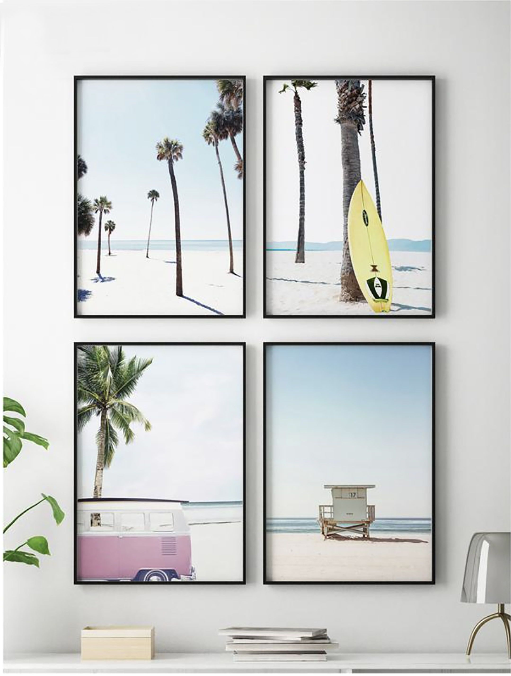 Beach Set Prints Digital Coastal Set of Four Prints Surf Decor Pink Van Print Art California Gallery Wall Set Travel Art Posters #213 #decorateshop