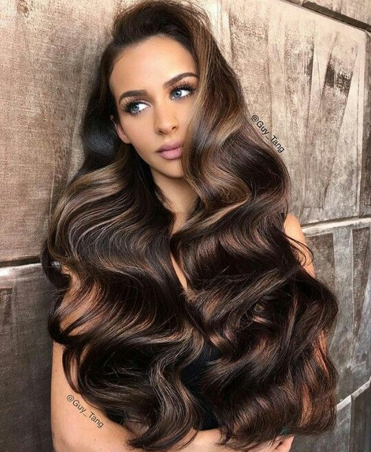 Long Dark Brown Hair Caramel Highlights Balayage Long Hair Long