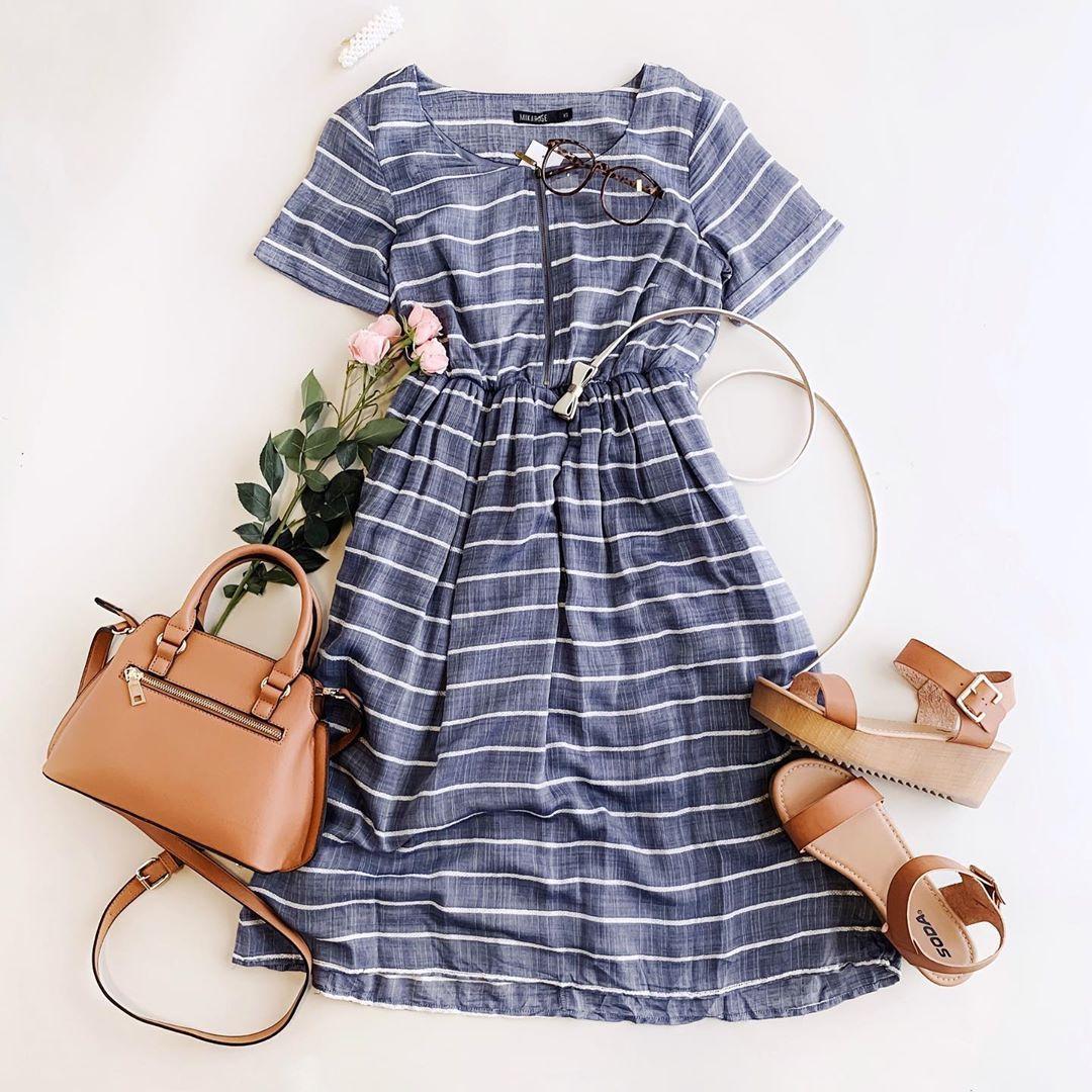 Nursing Friendly Dress Summer Dress Flat Lay Modest Dresses Casual Modest Dresses Fashion [ 1080 x 1080 Pixel ]