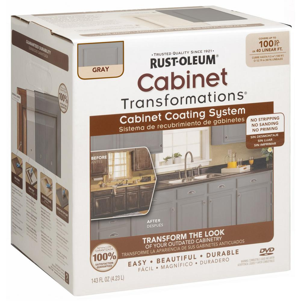 Cabinet Refacing Home Depot: Rust-Oleum Transformations 1 Qt. Gray Cabinet Small Kit In