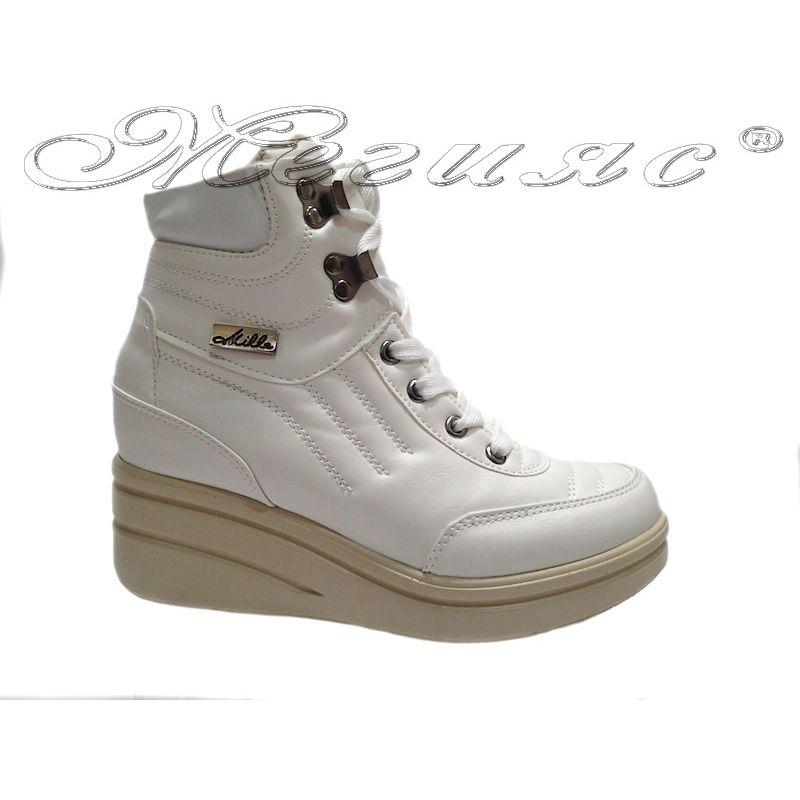 30d2fa83a7b Дамски обувки 405-28 бели спортни платформа еко кожа - Обувки Мегияс ®  магазин за обувки онлайн