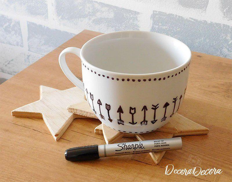 Decorar una taza con sharpie manualidades con - Decorar tazas con rotulador permanente ...