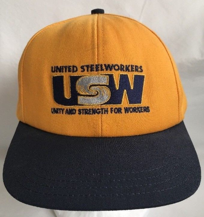 United Steelworkers USW Unity and Strength For Workers Snapback Yellow USA   unionwear  BaseballCap Gorras 51ec9a9e38d