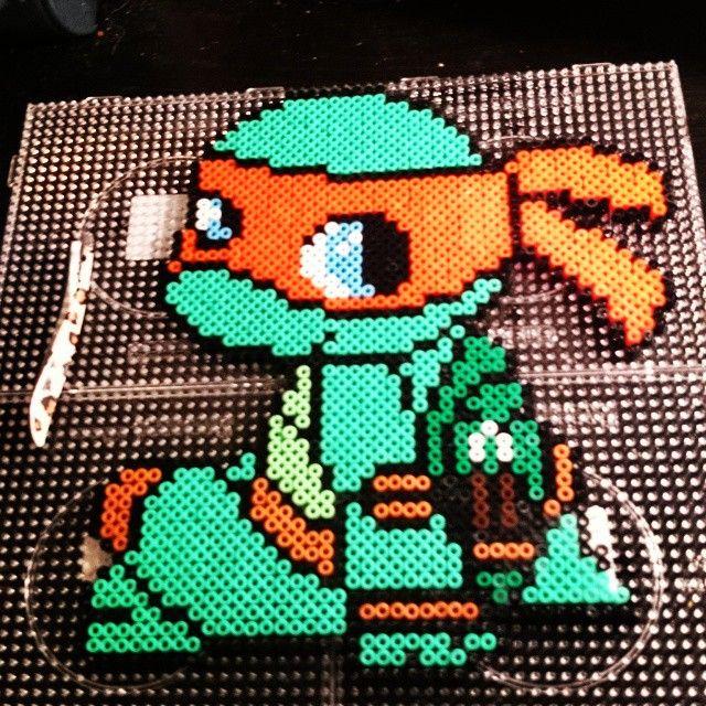 TMNT Michelangelo perler beads by xpeachheart | Perler - TMNT ...
