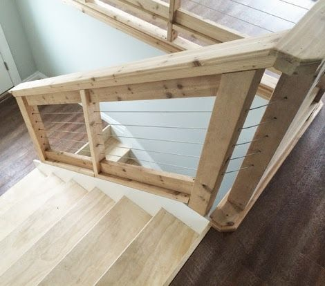 Stainless Steel Cable and Wood Railing   Ana White DIY ...