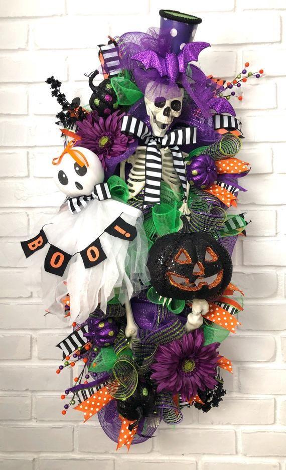 Photo of Skeleton Wreath, Halloween Wreath, Ghost Wreath, Pumpkin Wreath, Skull Wreath, Front Door Wreath, Deco Mesh Wreath, XL Wreath, Purple Wreath
