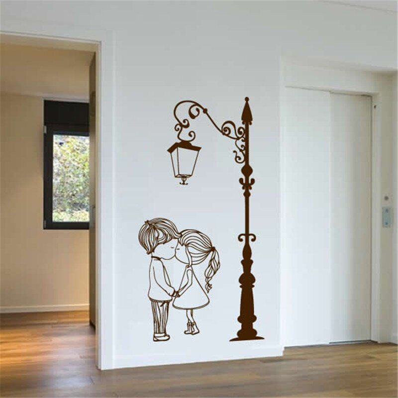 Wall Decal Vinyl Sicker Street Lamp Post Light With Two Lovely Cute Boy And Girl Couple Wall Art Mural Living Room Decor Wall Painting Decor Wall Stickers Bedroom Diy Wall Painting