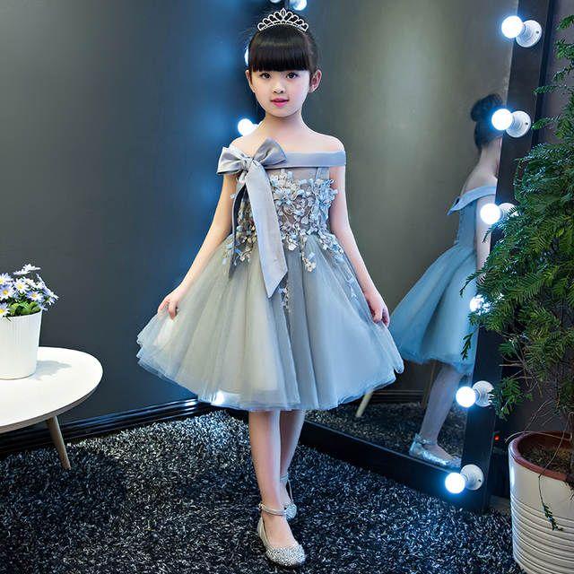 c795f042de Elegante Niñas sin mangas arco grande vestido de boda Appliques tulle  princesa vestido de cumpleaños Primera Comunión para Niñas