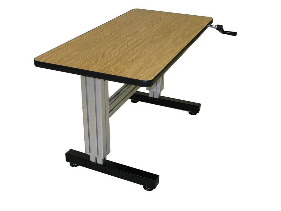 Single Surface Hand Crank Adjustable Height Desk