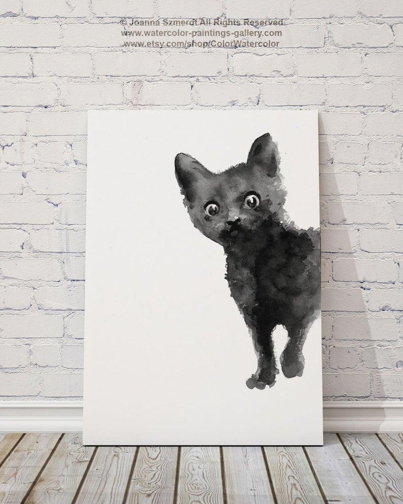 Black Cat Art Print Kitten Giclee Ink Painting Animal Etsy In 2020 Black Cat Art Cat Art Print Cat Drawing