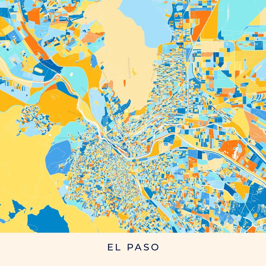 El Paso colorful map poster template | Maps Vector Downloads