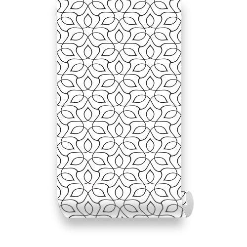 Seamless Curl Lines Pattern Orange PEEL /& STICK Repositionable  Fabric Wallpaper