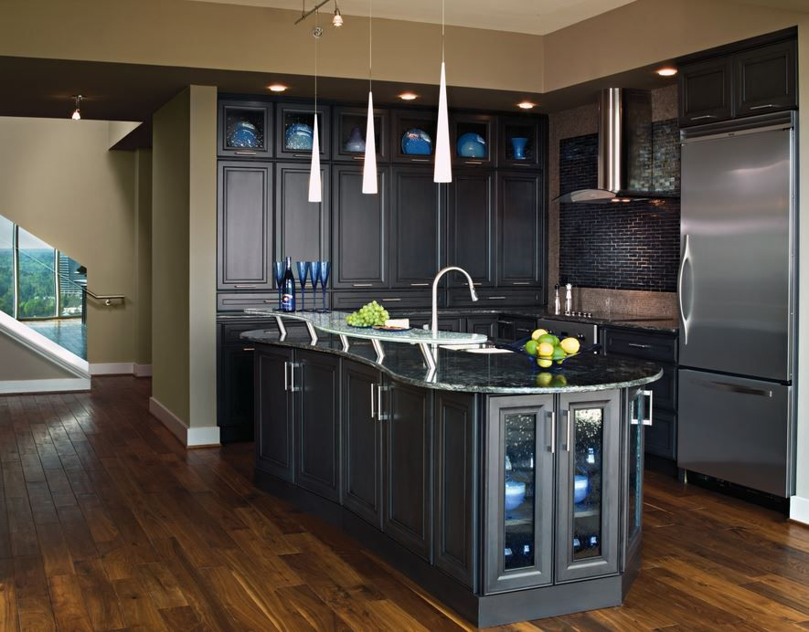 transitional kitchen with gunmetal blue cabinets by archway construction chicago with images on kitchen cabinets blue id=62547