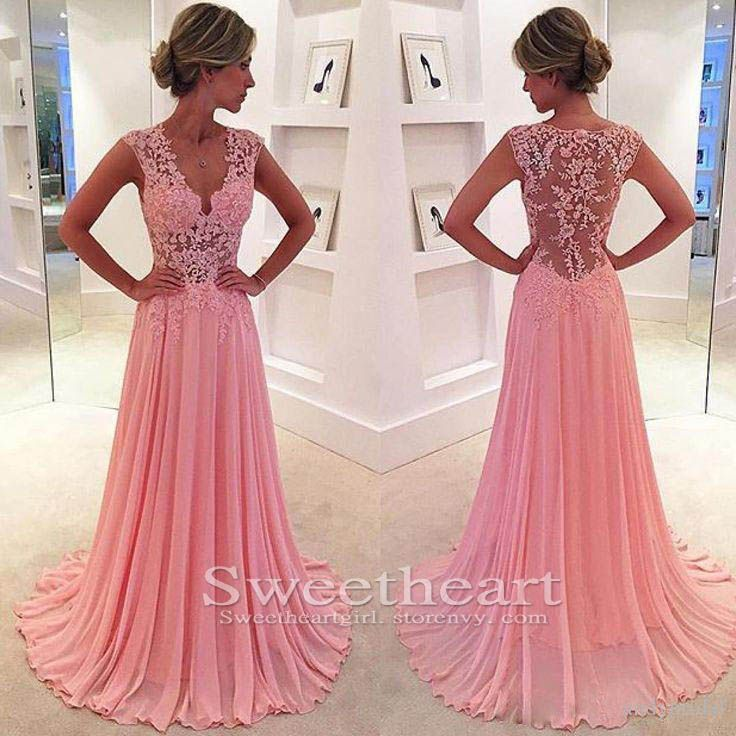 Unique pink chiffon lace long prom dress 2016 for teens, pink long ...