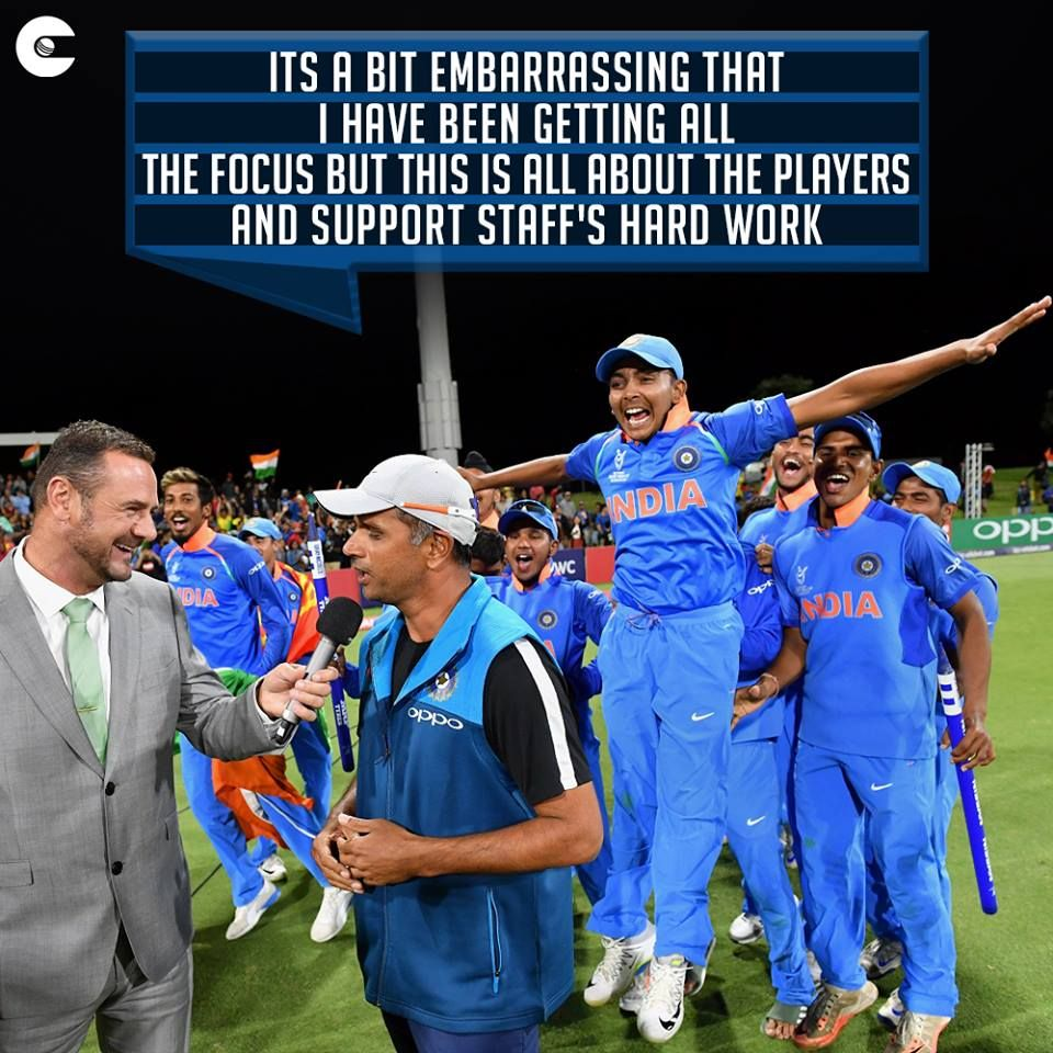 Rahul Dravid Being Modest Again With His Words After Mentoring India U19s To The U19cwc Victory Cricket Quotes Ms Dhoni Wallpapers Cricket Match