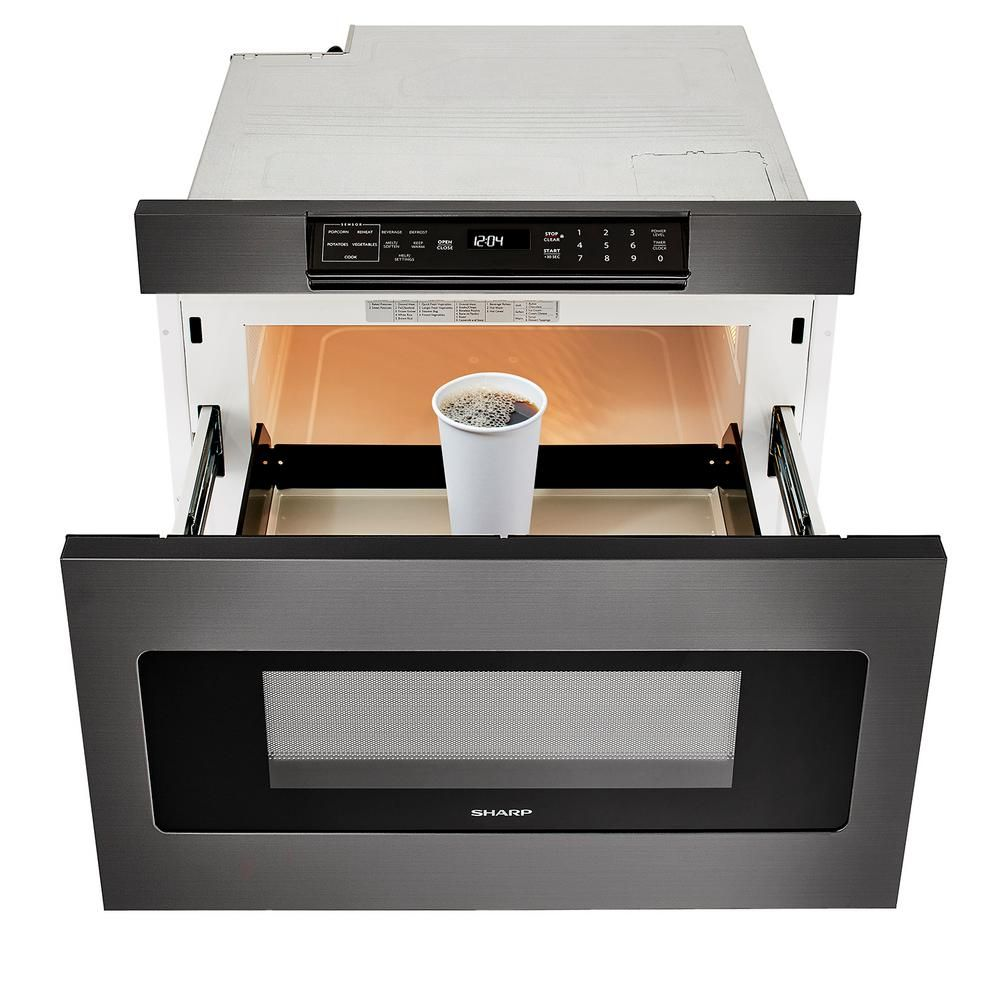 Sharp 24 In 1 2 Cu Ft Built In Microwave Drawer With Concealed Controls In Black Stainless Steel Finish With Sensor Cooking Smd2470ah The Home Depot Microwave Drawer Sharp Microwave Drawer Built In Microwave