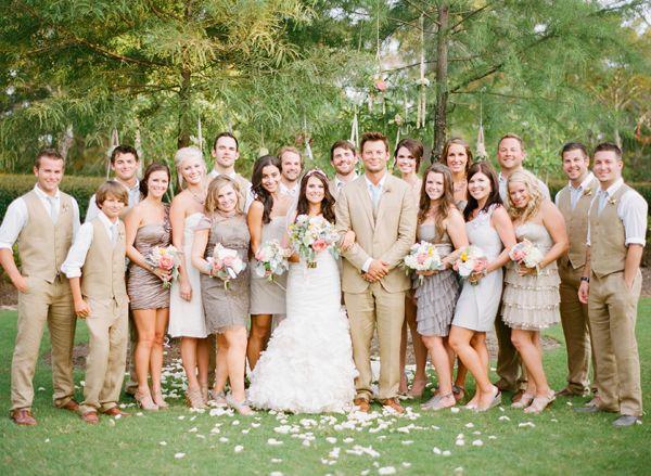 Bridal party in all neutrals: khaki, beige, grey.