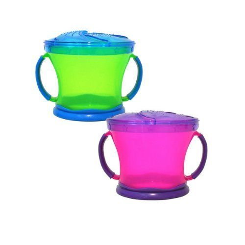 We have these...Munchkin Two Snack Catchers, Purple/Green by Munchkin, http://www.amazon.com/dp/B00A336UY4/ref=cm_sw_r_pi_dp_YWd3rb080NWNY