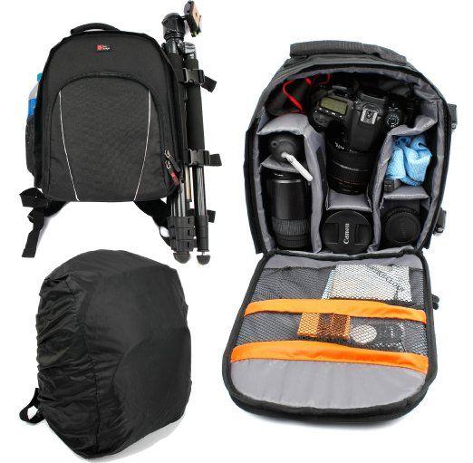 DURAGADGET Mochila Para Cámaras DSLR / SLR Canon | Nikon | Sony | Olympus + Funda Impermeable - Alta Calidad