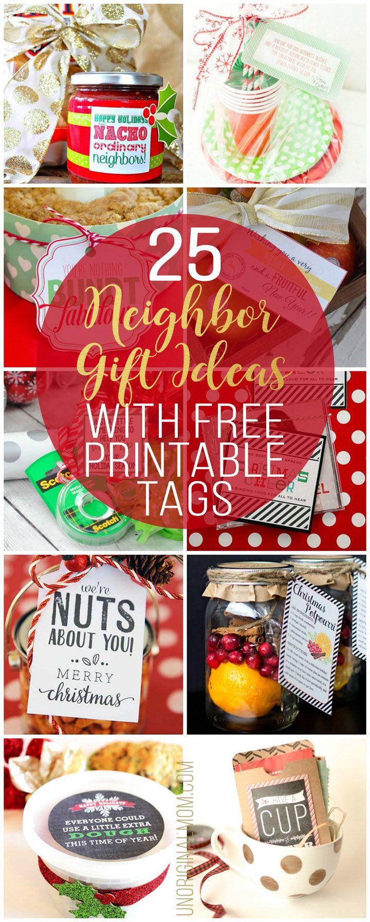 25 Neighbor Gift Ideas with Free Printable Tags | Printable tags ...