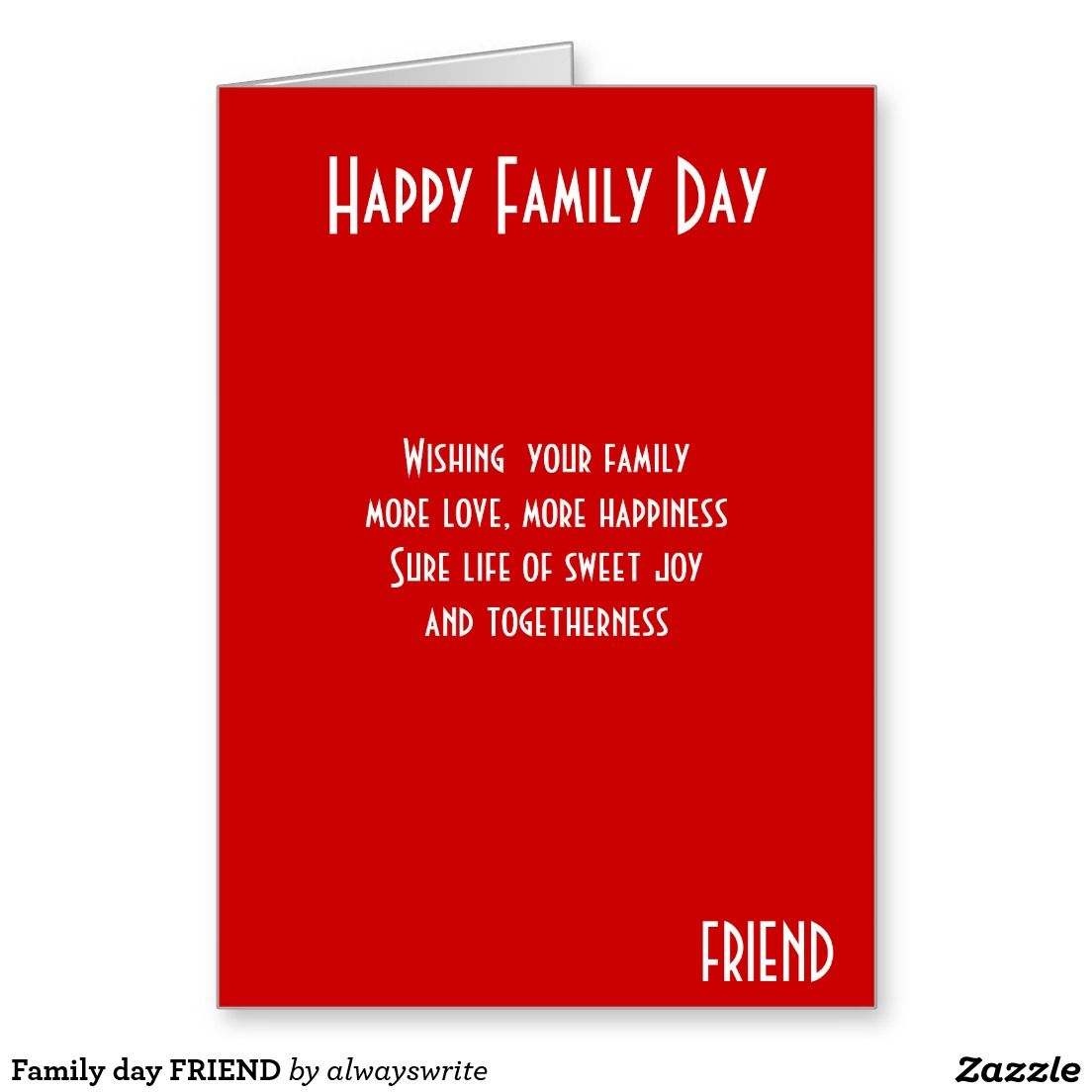 Family day friend card greeting card sttore pinterest family day friend greeting card m4hsunfo