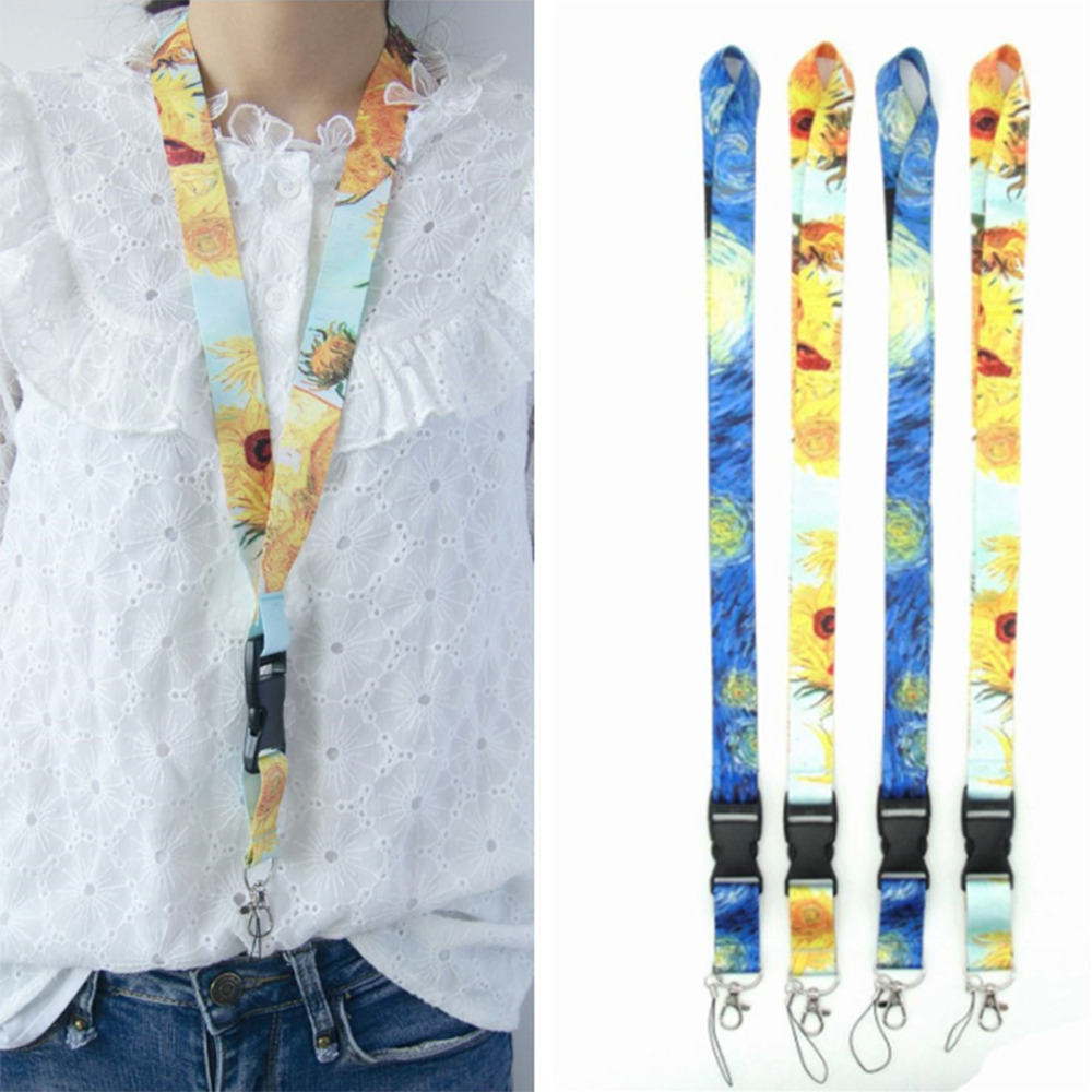 1pc Novelty Starry Sun Flower Pattern Neck Strap Hang Rope For