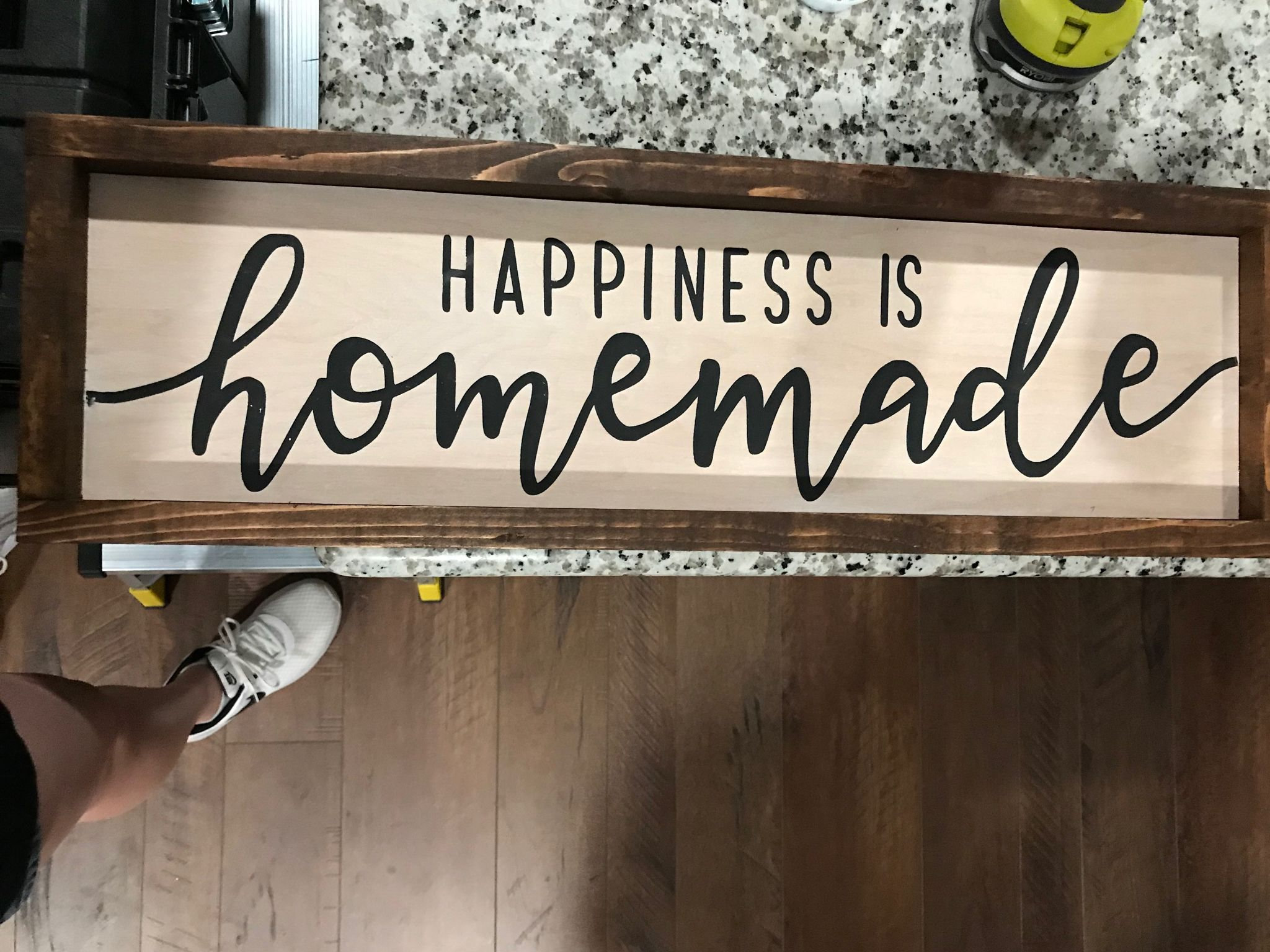 Wood Sign Quote Custom Cute Home Decor Simple Happiness Is