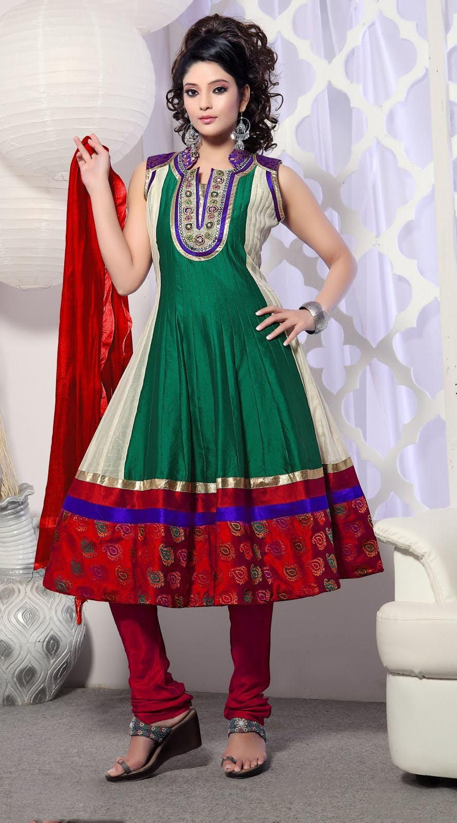 green sleeveless cotton silk and brocade long anarkali