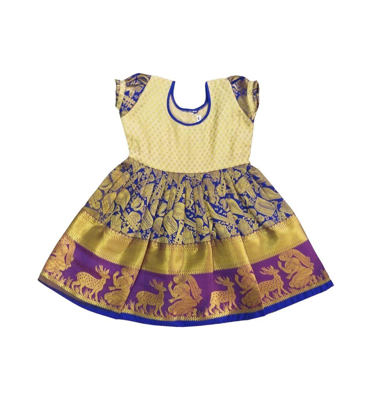 2327f7d0ce Pattu Pavadai New Born Babies Pure Silk Frock (Blue and Cream; 6 Months-2  Years) #pattupavadai #lehengacholi #kidsdress #childrendress #babygirldress  ...