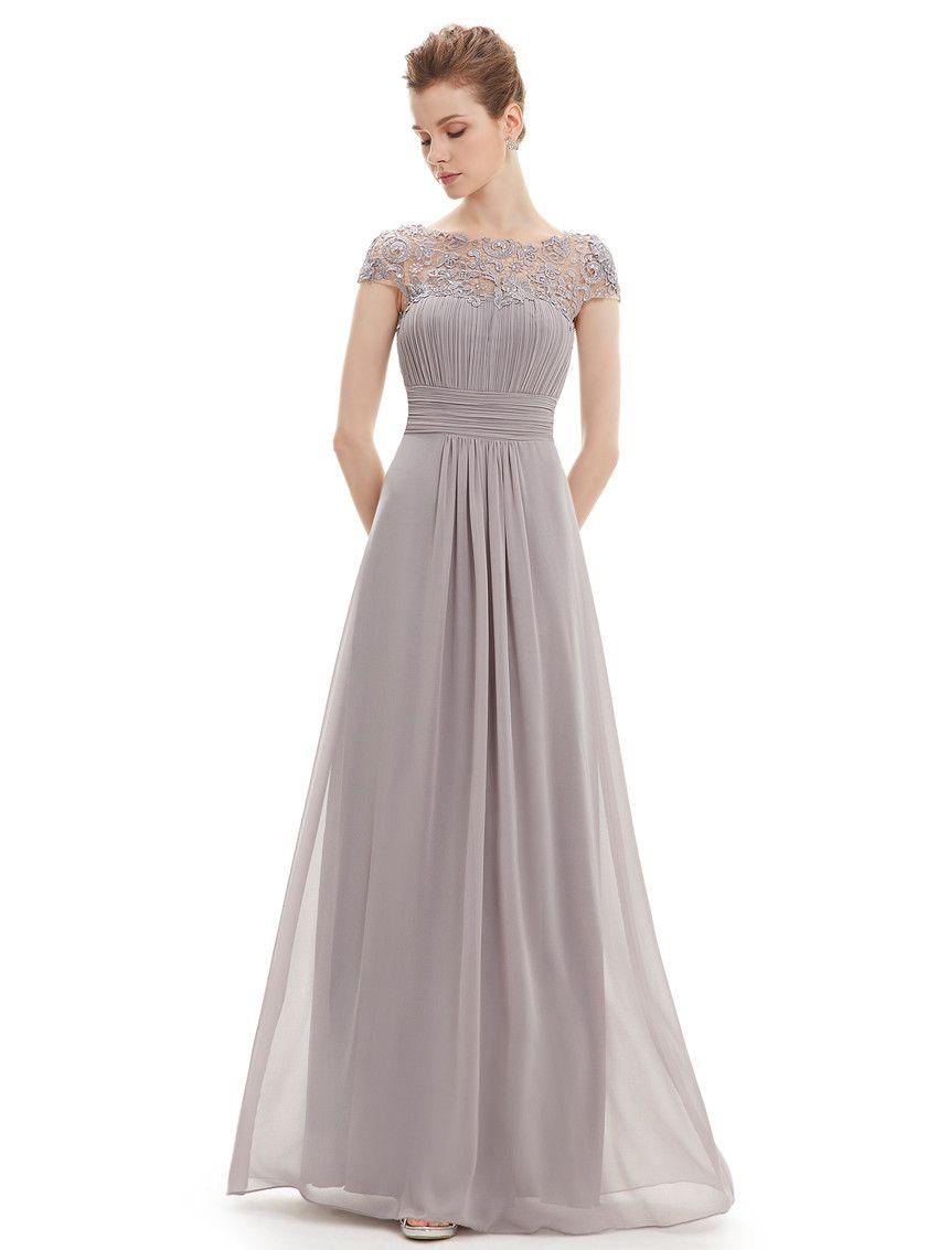 Grey Lacey Neckline Bridesmaid Dress | Cap sleeve evening ...