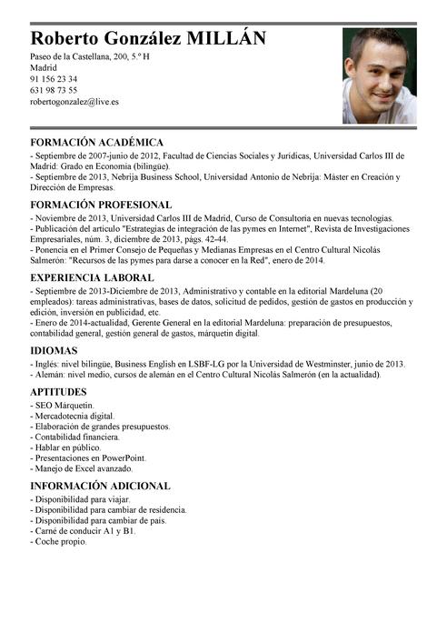 Modelo de Currículum Vítae Administrador General | Administrador ...