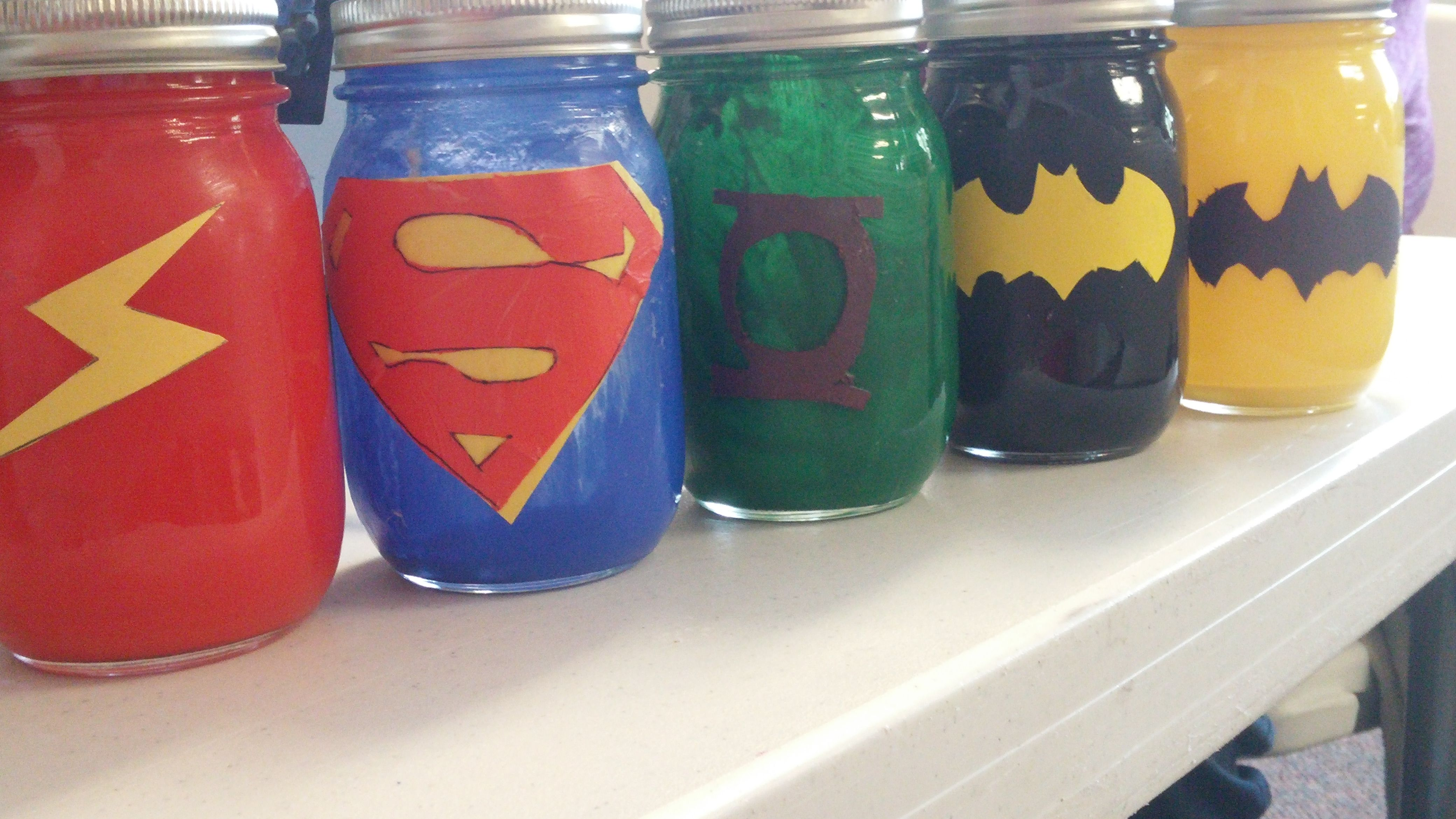 Diy Mason Jar Superhero Banks Made With Acrylic Paint On