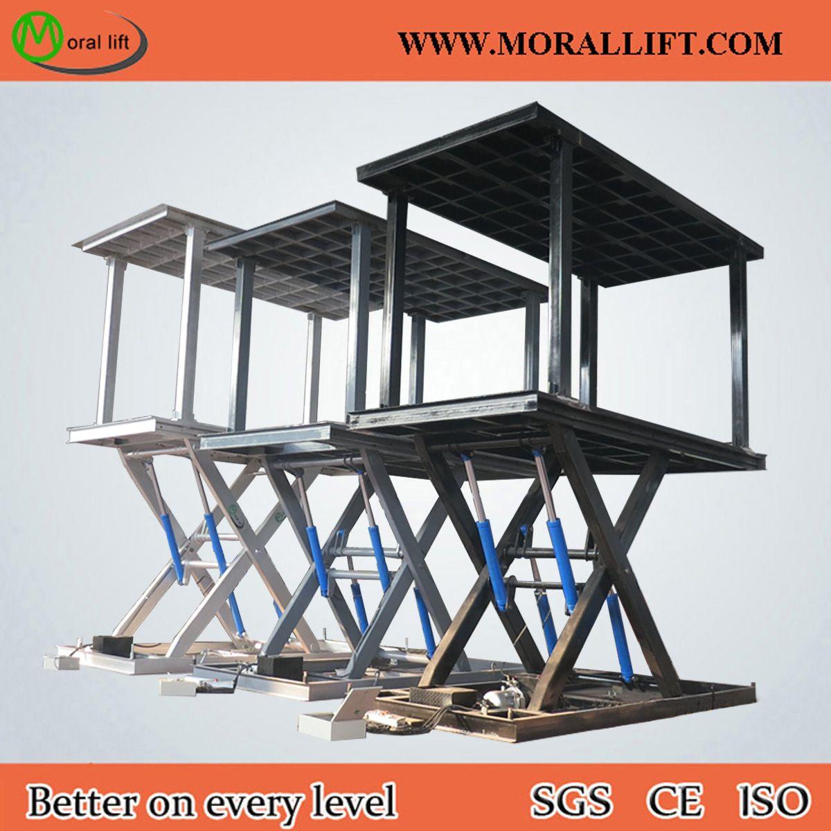 Double deck car scissor lift, hydraulic driven, scissor type